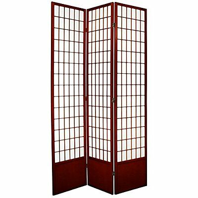 Oriental Furniture Redish Brown, 7-Feet Window Pane Japanese Shoji Screen R