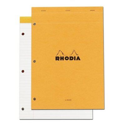 Rhodia Classic French Paper Pads ruled with margin, 3-hole punched 8 1/4 in