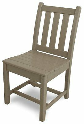POLYWOOD TGD100SA Traditional Garden Dining Side Chair, Sand