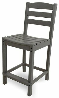 POLYWOOD TD101GY La Casa Café Counter Side Chair, Slate Grey
