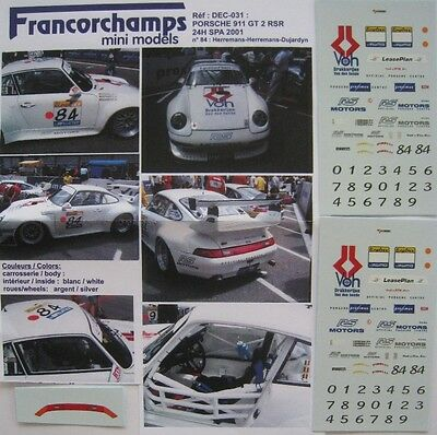 PORSCHE 911 GT2 n° 84 24 H DE SPA 2001 DECAL1/43e FMM
