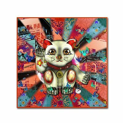 """Trademark Fine Art """"Red Lucky Cat Pattern"""" Artwork by Miguel Paredes, 24 by"""