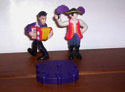 "The Wiggles 3"" PVC Jeff and Captain Feathersword Figures Plus a Purple Stand"