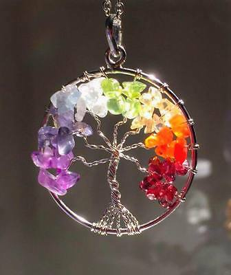 Tree of Life Rainbow Gemstone Seven Chakra Celtic Handmade Pendant Necklace