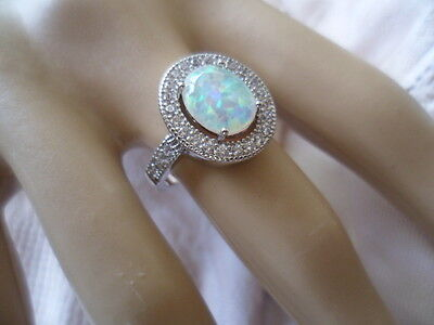 Antique Art Deco Vintage Sterling Silver Opal Ring with Sapphires size 9 or S