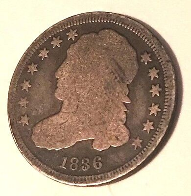 1836 silver capped bust liberty dime ten cent silver coin