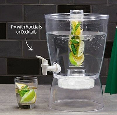 Drink Beverage Dispenser w/ Tap Large 6L Fruit Infuser Lid Ice Juice Water Jug