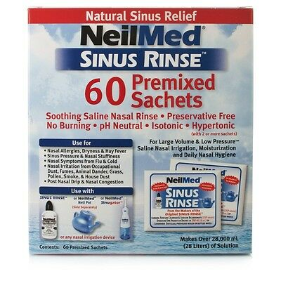 NeilMed Sinus Rinse 60 Sachets Plus FREE 240ML Bottle *MICHAEL VASILI CHEMIST*