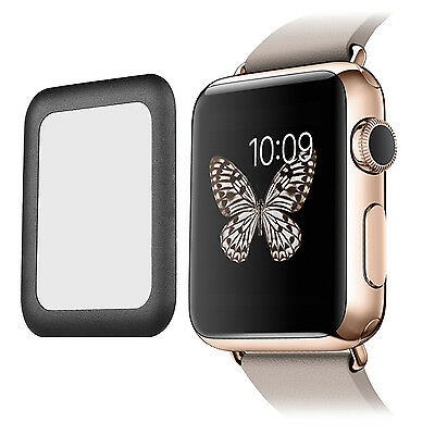 Real Film Tempered Glass w/Full Cover Metal Edge Screen for Apple Watch 42MM