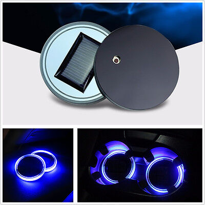2 PCS Solar Cup Holder Bottom Pad  BLUE LED Light Cover Trim Atmosphere Lamp