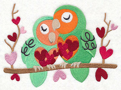 Embroidered Snuggling lovebirds quilt block, fabric,cushion panel,valentine day