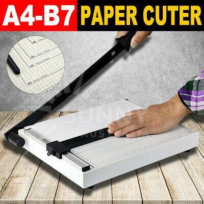 AU Premium Paper Cutter Size A4 To B7 Metal Guillotine Page Trimmer Home Office