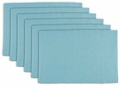"""DII 100% Cotton, Ribbed 13x 19"""" Everyday Basic Placemat Set of 6, Light Blu"""