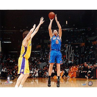 NBA New York Knicks Danilo Gallinari Blue Jersey Jump Shot vs. Lakers Photo
