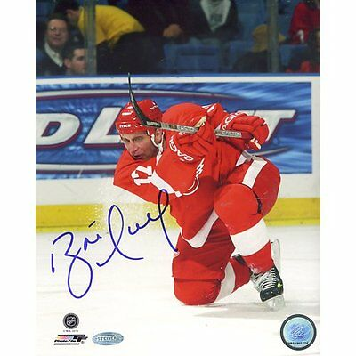 NHL Detroit Red Wings Brett Hull Red Jersey Slap Shot Vertical Photograph,