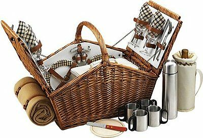 Picnic At Ascot Huntsman Basket for Four with Coffee Set and Blanket in Lon