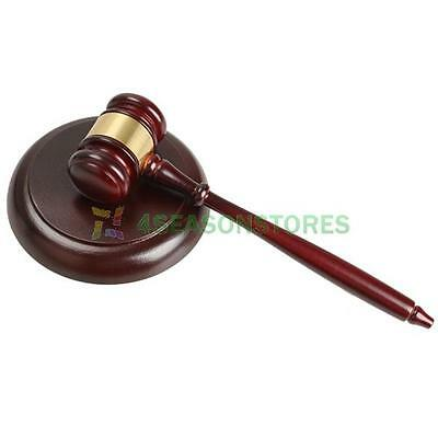 Wooden Handcrafted Wood Gavel Hammer + Sound Block for Lawyer Judge Auction Gift