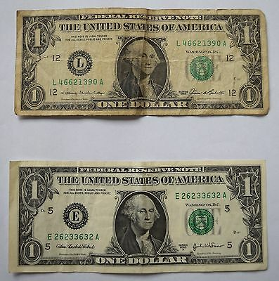 2 x USA One Dollar Bill Notes  Series 1985 and 2003 A
