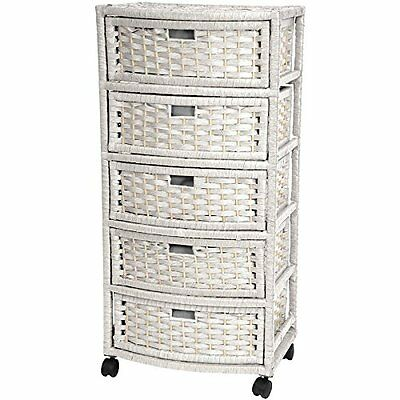 """Oriental Furniture 37"""" Natural Fiber Chest of Drawers - Whit"""