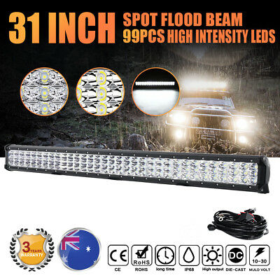 "31""Inch 693W Philips 3-Row Led Light Bar Spot Flood Offroad Work Lamp Truck 30"""