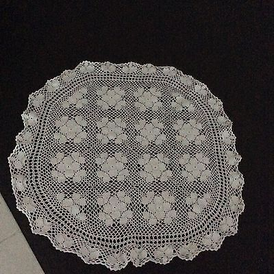 Vintage/retro White Crochet Tablecloth/table Topper