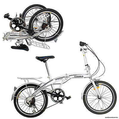 """Folding Foldable 20"""" Bike Bicycle Front And Rear Hand Brakes 6 Speed Derailleur"""