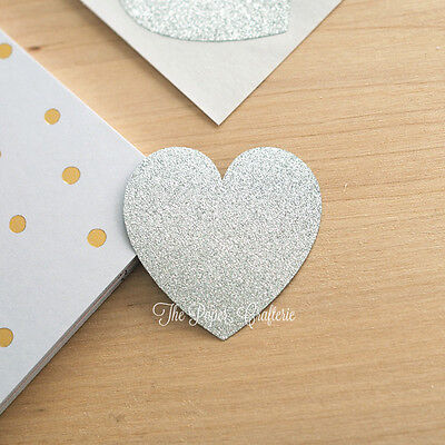 SILVER HEART STICKERS Glitter Labels Envelope Seals Wedding Invitations 24 pcs