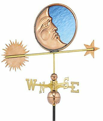 Good Directions 678P Stained Glass Moon Weathervane, Polished Copper