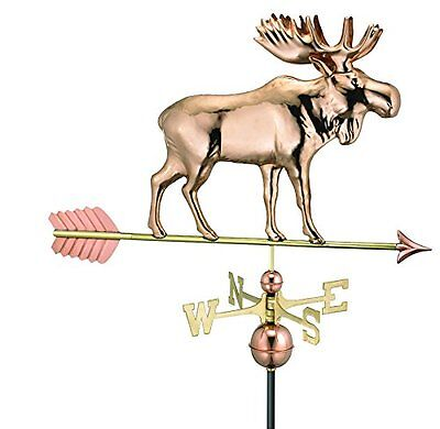 Good Directions 9557PA Moose Weathervane with Arrow, Polished Copper