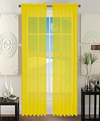 """Elegant Comfort® 2-Piece SHEER PANEL/CURTAIN with 2"""" ROD POCKET - Solid"""
