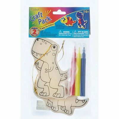 Bulk Buy: Darice Crafts for Kids Wood Ornament Kit Dinosaur Makes 2 (6-Pack