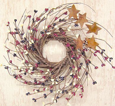 CWI Gifts Country Mix Pip and Twig with Rusty Star Wreath, 10-Inch