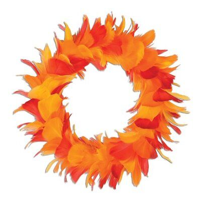 Feather Wreath (golden-yellow, orange, red) Party Accessory  (1 count)