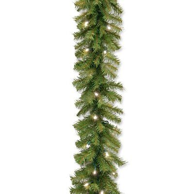 National Tree Norwood Fir Garland with 50 Concave Soft White LED Lights, 9-