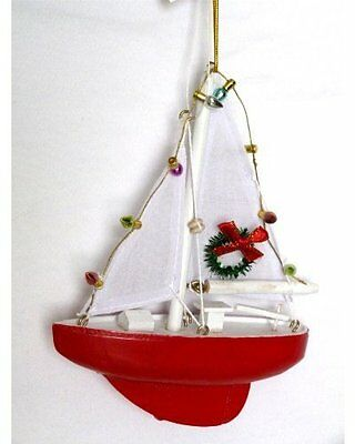 Sailboat with Lights and Wreath Christmas Ornament - Holiday Nautical Beach