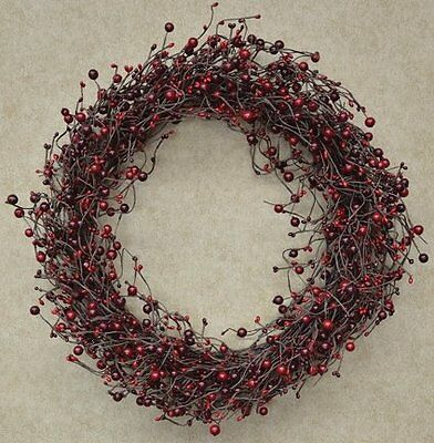 """Wreath - 20"""" Country Berry Pips Burgundy Red - Rustic Primitive"""