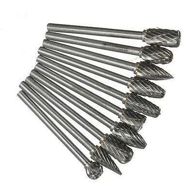 """10pcs 6mm 1/8"""" Head Tungsten Carbide Rotary Point Burrs Die Grinder Carving Set"""