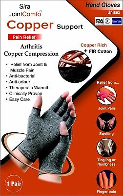 Copper Compression Hand Gloves Relief Arthritis Joint Pain Finger Swelling Sport