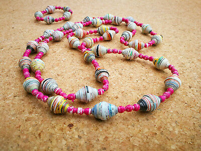Recycled Paper Beads Necklace & Bracelet Set in Pinks Handmade in Thailand