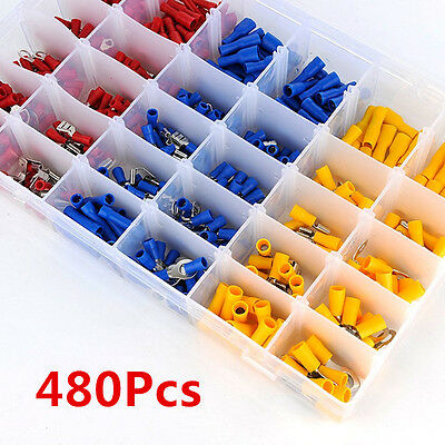 480x Assorted Car Electrical Wire Terminals Insulated Crimp Connectors Spade Set