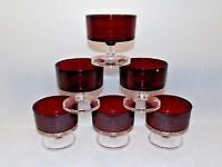 french ruby red sorbet set of six glasses