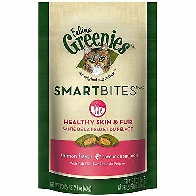 FELINE GREENIES SMARTBITES Healthy Skin and Fur Cat Treats - Salmon Flavor