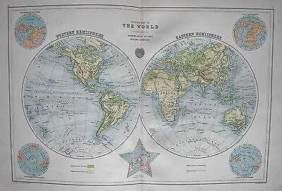 1900 Large Map Physical Map Of The World Double Page