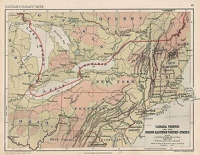 1889 Antique Map Canada Proper And The North Eastern United States