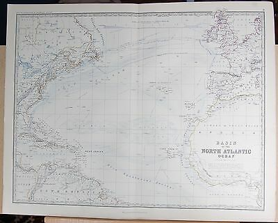 1875 Extra Large Antique Map - Basin Of The North Atlantic Ocean