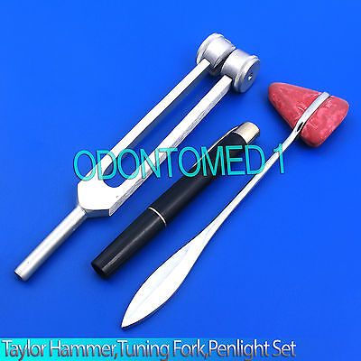 Set of 3 pcs Reflex Taylor Percussion Hammer Penlight Tuning Fork 128C