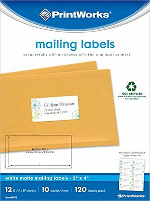 Printworks White Matte Mailing Labels for Inkjet or Laser Printers or Copie