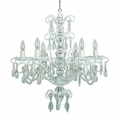 Yosemite Home Decor 1607-6MI-WH 6-Light Chandelier, White Finish