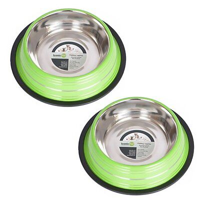 Iconic Pet 12 Cup Color Splash Striped Non-Skid Pet Bowl for Dog or Cat (2