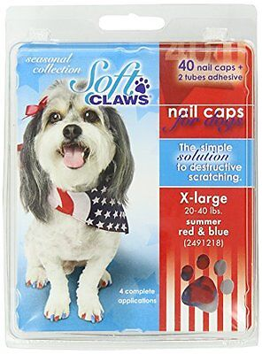 Canine Soft Claws 40-Pack Summer Colors Dog Nail Caps Kit, X-Large, Red and